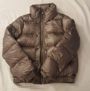 NWT DKNY Puffer Coat, metallic taupe, xs